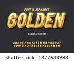 vector extra golden rich font.... | Shutterstock .eps vector #1377633983
