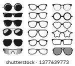 sunglasses set  summer eyewear... | Shutterstock .eps vector #1377639773
