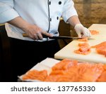 japanese chef making sashimi in ... | Shutterstock . vector #137765330