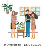 group of people with houseplant ... | Shutterstock .eps vector #1377661103