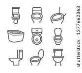 toilet line icon. vector signs... | Shutterstock .eps vector #1377662363