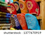 moccasins at a vendor stall in... | Shutterstock . vector #1377670919