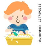 illustration of a kid boy using ... | Shutterstock .eps vector #1377693353