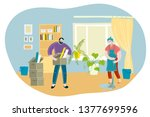 spring house cleaning. family   ... | Shutterstock .eps vector #1377699596