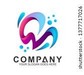 cm mc logo in water splash... | Shutterstock .eps vector #1377717026