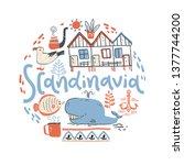 scandinavia. hand lettering... | Shutterstock .eps vector #1377744200