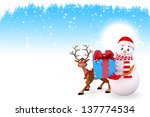 illustration of snow man with... | Shutterstock . vector #137774534