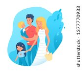 family time flat illustration.... | Shutterstock .eps vector #1377770933