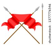 two spears with red  flag on a... | Shutterstock .eps vector #1377776546