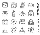 travel landmark icon set....