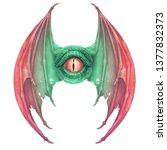 flying dragon eye in green...   Shutterstock . vector #1377832373