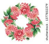 watercolor wreath of dahlias...   Shutterstock . vector #1377832379