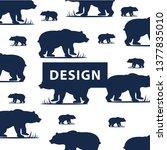 bear vector pattern  with bears ... | Shutterstock .eps vector #1377835010