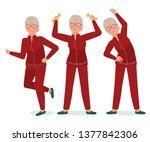 grandma goes in for sports.... | Shutterstock .eps vector #1377842306