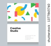 business card template with... | Shutterstock .eps vector #1377865760
