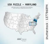 usa map puzzle   one state one... | Shutterstock .eps vector #137786894