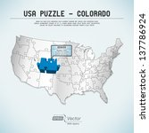 usa map puzzle   one state one... | Shutterstock .eps vector #137786924