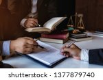 team lawyers presents to the... | Shutterstock . vector #1377879740