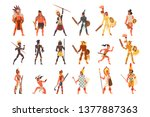 armed native people of african... | Shutterstock .eps vector #1377887363
