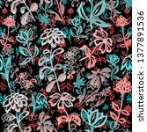 abstract floral seamless... | Shutterstock . vector #1377891536