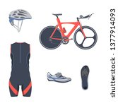 triathlon set. bicycle... | Shutterstock .eps vector #1377914093