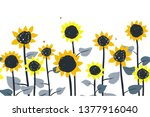 sunflowers. vector horizontal... | Shutterstock .eps vector #1377916040