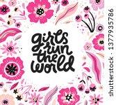 girls run the world hand drawn... | Shutterstock .eps vector #1377935786