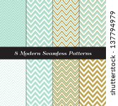 Green Mint And Gold Chevron An...