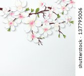 cherry blossoms flower paper... | Shutterstock . vector #137795006
