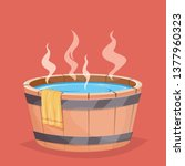 wooden hot tub and towel | Shutterstock .eps vector #1377960323
