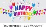 happy birthday balloons... | Shutterstock .eps vector #1377973049