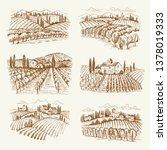 vineyard landscape. france or... | Shutterstock .eps vector #1378019333