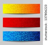 Set Of Colorful Pixel Banners ...