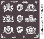 heraldic elements vector set | Shutterstock .eps vector #137807450