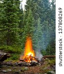 campfire at wilderness campsite ... | Shutterstock . vector #137808269