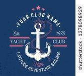 yacht club badge. vector... | Shutterstock .eps vector #1378098929