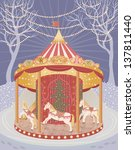 holiday carousel with horses. ... | Shutterstock .eps vector #137811440