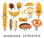 bread characters. funny tasty... | Shutterstock .eps vector #1378131476