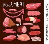 sausages illustration. fresh... | Shutterstock .eps vector #1378131749