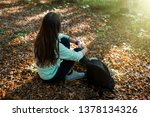 young woman taking a walk in... | Shutterstock . vector #1378134326