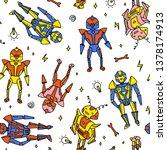vector seamless fun robot... | Shutterstock .eps vector #1378174913