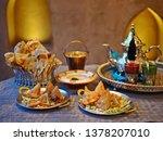 halal chicken samosas served... | Shutterstock . vector #1378207010
