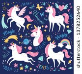 unicorns collection. vector... | Shutterstock .eps vector #1378252640