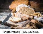 fresh homemade slice bread and...   Shutterstock . vector #1378325333