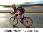 athlet riding bicycle at sunny... | Shutterstock . vector #137833553