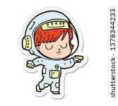 sticker of a cartoon astronaut...   Shutterstock . vector #1378344233