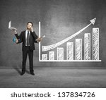 businessman with four hands and ... | Shutterstock . vector #137834726