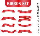 red ribbons set. vector design... | Shutterstock .eps vector #1378348226