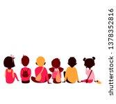 children of different races sit ... | Shutterstock .eps vector #1378352816