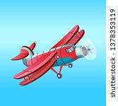 red aeroplane in cartoon style... | Shutterstock .eps vector #1378353119